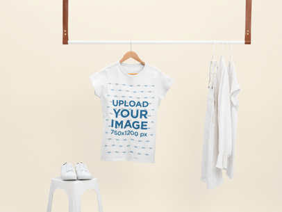 Mockup of a Women's T-Shirt Hanging With Only White Clothes 26876