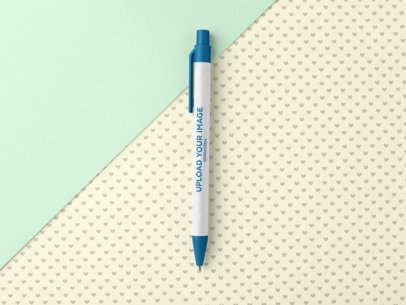 Eco-Friendly Pen Mockup Featuring a Background with a Heart Pattern 23533