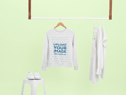 Mockup of a Crewneck Sweater on a Minimalist Hanging Rod 26890