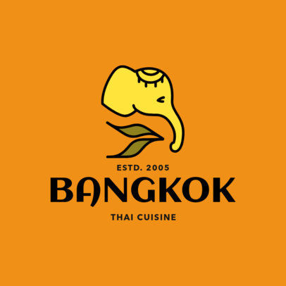 Simple Thai Food Logo Maker with an Elephant Clipart 1844b
