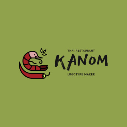 Minimalistic Thai Food Restaurant Logo Maker with Spicy Food Clipart 1844d