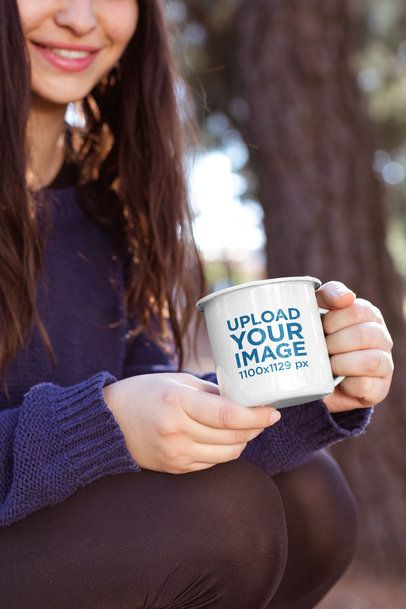 12 oz Enamel Mug Mockup Featuring a Smiling Woman at the Woods 26915