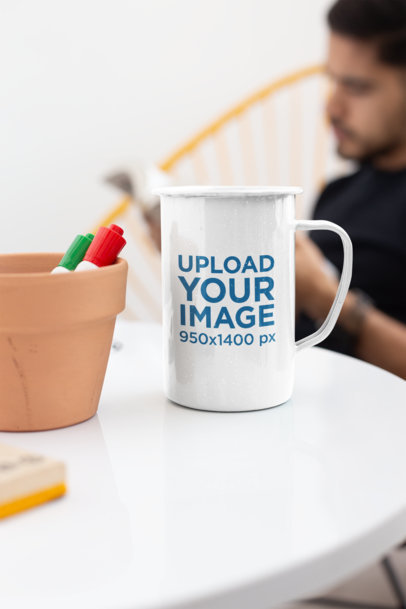 21 Oz Enamel Mug Mockup over a White Table
