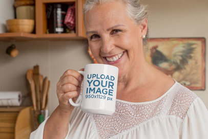 15 Oz Coffee Mug Mockup of a Joyful Old Woman at Her Home 27437