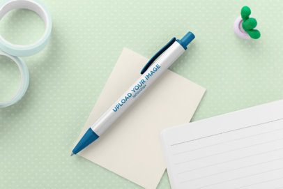 Pen Mockup over Paper Sheets and Office Supplies 23578