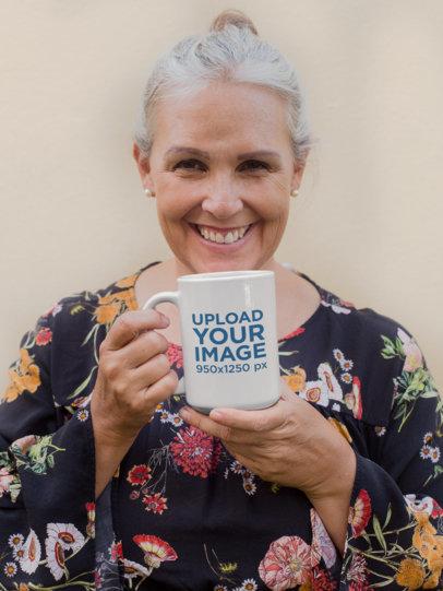15 Oz Coffee Mug Mockup of a Senior Woman Smiling at the Camera 27445