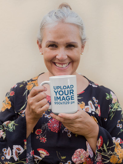 15 Oz Coffee Mug Mockup of a Senior Woman Smiling at the Camera 27445