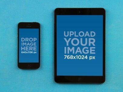 iPhone Vs iPad Portrait Over Blue Fabric
