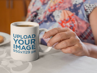 11 Oz Mug Mockup Featuring a Woman's Hand 27454