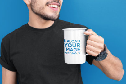 21 Oz Enamel Mug Mockup of a Man with a Beard