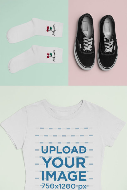 T-Shirt Mockup of an Outfit with Socks And Sneakers