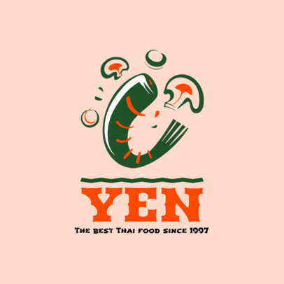 Thai Food Restaurant Logo Maker with a Shrimp Clipart 1838c