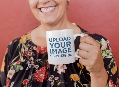 11 Oz Coffee Mug Mockup Featuring a Smiling Elderly Woman 27460