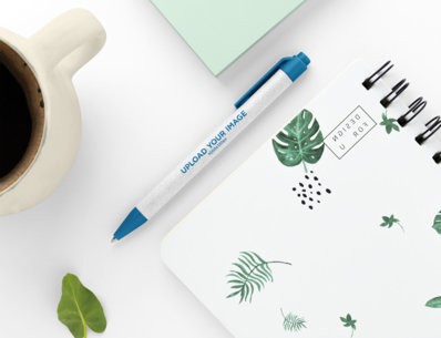 Mockup of an Eco-Friendly Pen on a Neat Desk 23583