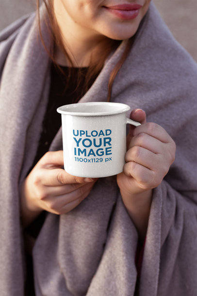 12 Oz Enamel Mockup of a Woman with a Blanket over Her Shoulders 26930