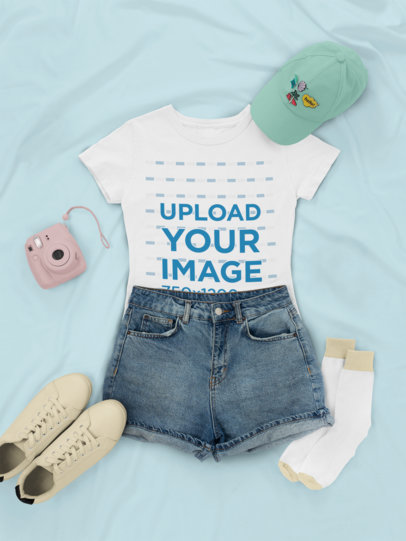 Outfit Mockup of a T-Shirt with Denim Shorts and Low Sneakers 26338