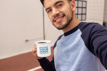 12 Oz Enamel Mug Mockup Featuring a Man Taking a Selfie 26944