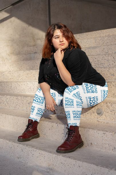 Plus Size Leggings Mockup of a Woman Sitting at an Urban Stairway 24895
