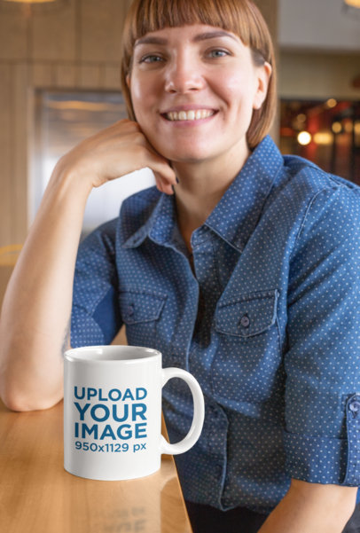 11 Oz Mug Mockup Featuring a Smiling Short-Haired Woman