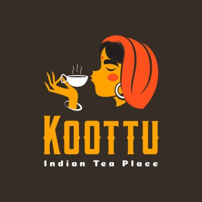 Indian Restaurant Logo Maker Featuring a Woman Drinking Coffee 1833d