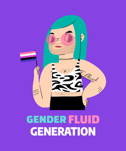 T-Shirt Design Maker for Gender Fluidity Pride 1294a