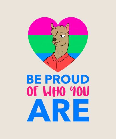 Funny LGBTQ T-Shirt Design with a Proud Llama Clipart 1292c