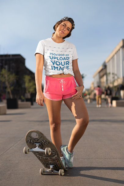 Mockup of a Young Skater Woman Wearing a Knotted Tee and Gym Shorts 27072