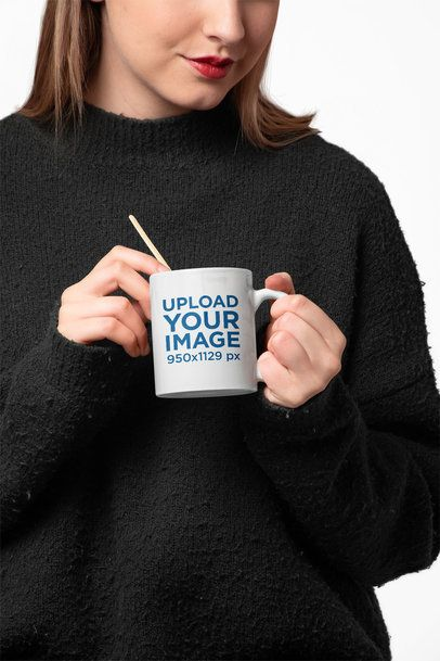 11 Oz Coffee Mug Mockup Featuring a Young Woman Against a White Backdrop 27310