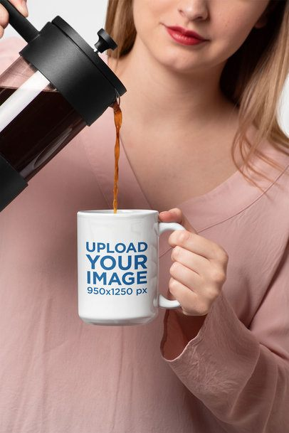 Mockup of a Woman Pouring Coffee in a 15 Oz Mug 27312