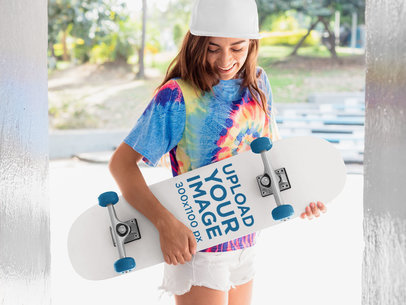 Skateboard Mockup of a Skater Woman with a Psychedelic Blouse 27118