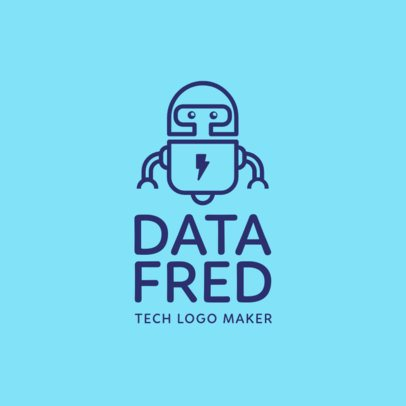 Cool Tech Corporation Logo Generator with a Futuristic Robot Clipart 1135d