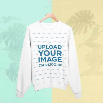 Sweatshirt Mockup with a Tropical-Feeling Bicolor Background 27017