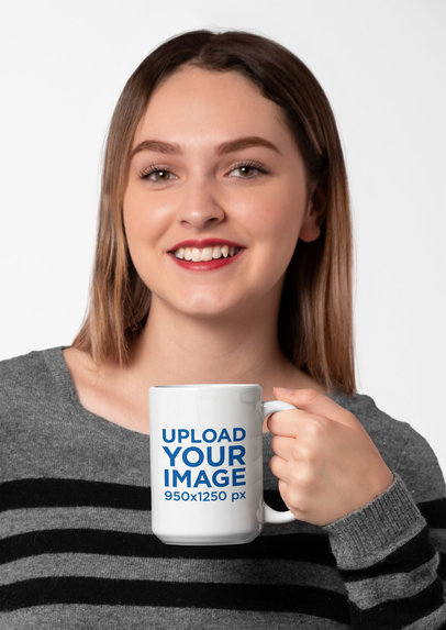 15 Oz Mug Mockup of a Young Woman Drinking Coffee in Front of a Solid Backdrop 27318