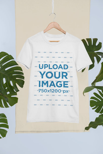Mockup of a T-Shirt Hanging Against a Background with Palms 27023