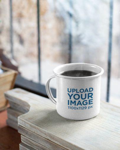 Mockup of a 12 Oz Enamel Mug with Warm Coffee 26968