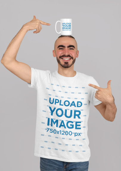 T-Shirt Mockup of a Bearded Man with a 15 oz Mug over His Head 27530