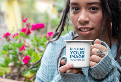 12 Oz Enamel Mug Mockup Featuring a Woman with a Cozy Look 26969