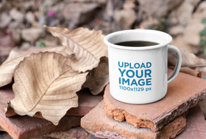 12 oz Enamel Mug Surrounded by Brown Dry Leaves 26973