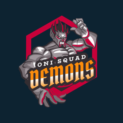 Gaming Logo Template Featuring a Demon Character 1747a
