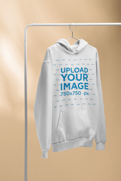 Pullover Hoodie Mockup Hanging on a Rack 27496