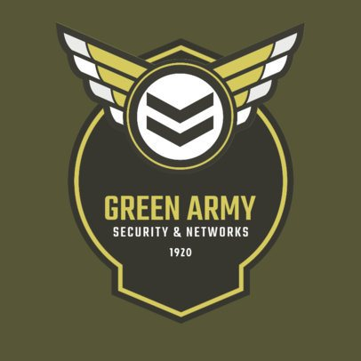 Private Security Logo Template with Military Design 1786d