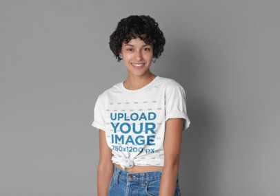 Knotted T-Shirt Mockup Featuring a Short-Haired Woman 27288