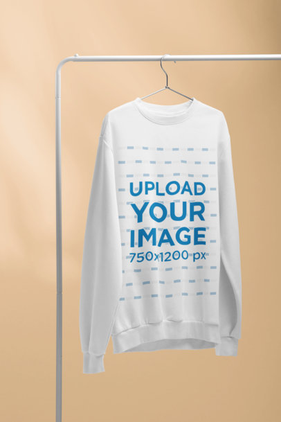 Mockup of a Hanged Men's Crewneck Sweatshirt  with a Solid Color Background 27498