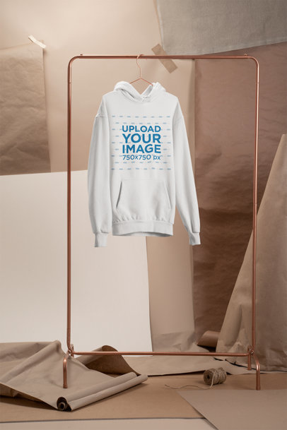 Men's Pullover Hoodie Mockup with a Minimal Kraft Paper Background 27488