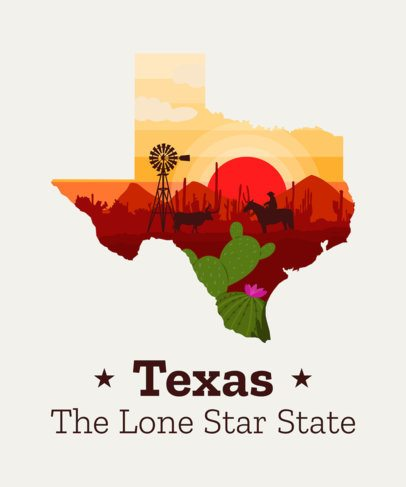 T-Shirt Design Template of Texas with Western Background 1382