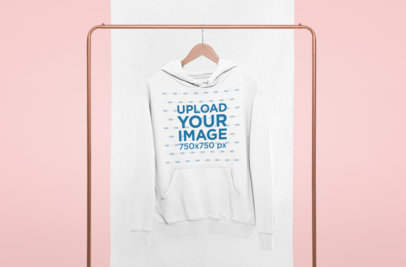 Mockup of a Hanged Women's Pullover Hoodie with a Minimalist Bicolor Background 27008
