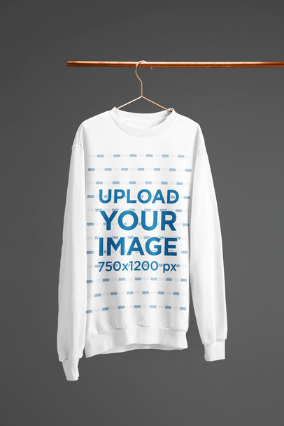 Crewneck Sweatshirt Mockup Hanged from a Copper Tube 27387