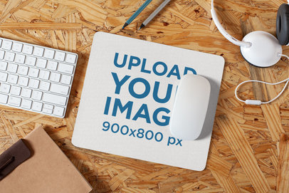 Mousepad Mockup Lying on a Particle Board Desk 27561