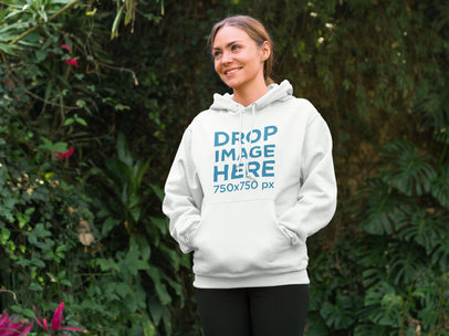 Woman at the Park Taking a Break from Running Hoodie Mockup a8208