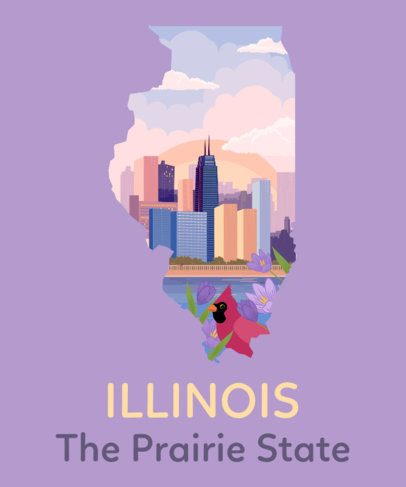 Illinois Shirt Design Template with Skyscrapers 1382c